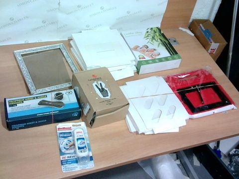 BOX OF A SIGNIFICANT QUANTITY OF ASSORTED HOUSEHOLD ITEMS TO INCLUDE DESIGNER PICTURE FRAME, DESIGNER MATTRESS PROTECTOR, UNIBOND SILICONE ETC