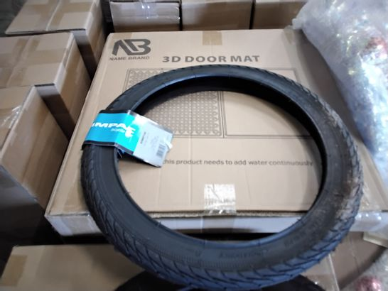 PALLET OF ASSORTED ITEMS INCLUDING, SNOW SAFETY HELMET, CYCLE TYRES, CHRISTMAS BAUBLE WREATHS, 3D DOOR MATS, YOGA MATS