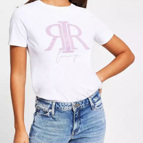 BRAND NEW RIVER ISLAND EMBOSSED LOUNGE T-SHIRT - WHITE, SIZE 14