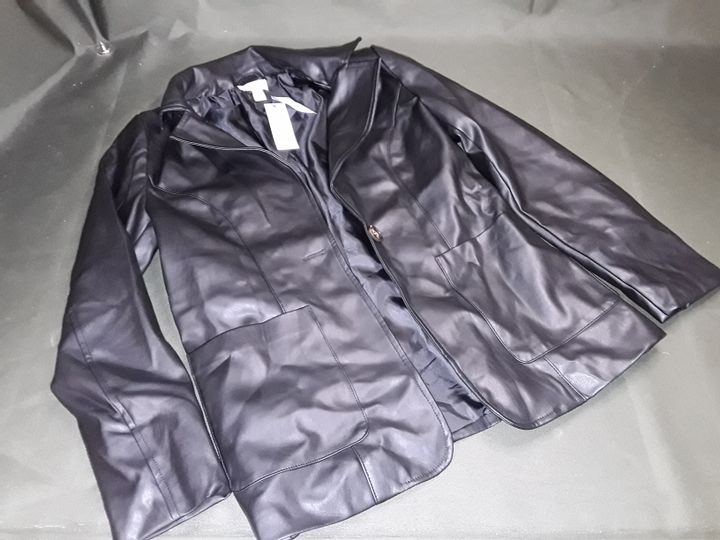TOPSHOP FAUX LEATHER BUTTON FRONT JACKET IN BLACK - UK 10