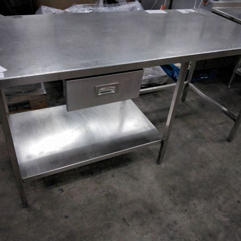 COMMERCIAL METAL PREP TABLE WITH HALF UNDER SHELF & DRAWER 170 × 80cm