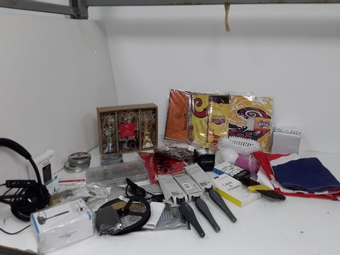 2 SMALL BOXES OF ASSORTED HOMEWARE ITEMS TO INCLUDE PLANTRONICS HEADSET, LED LIGHT STRIP, UNION JACK FLAG