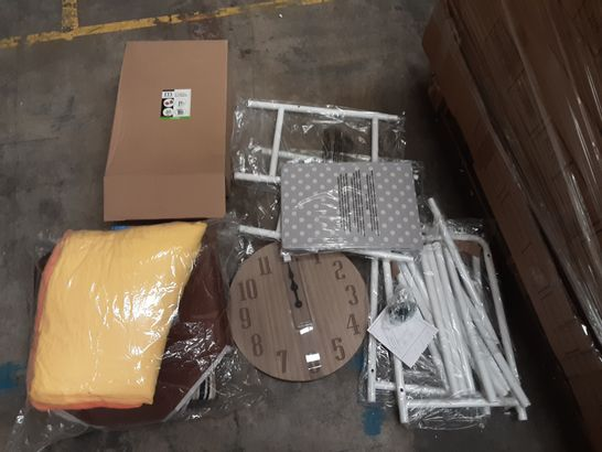 PALLET OF ASSORTED ITEMS TO INCLUDE TOY STORAGE SHELVES, ACTNOW SOFT DOG AND CAT INFLATABLE BED AND WOODEN WALL CLOCK