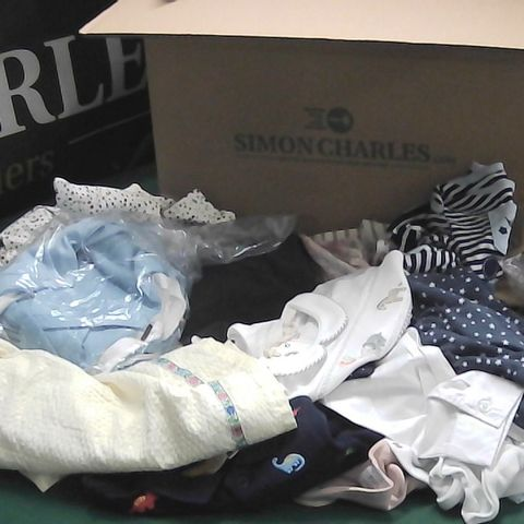 BOX OF ASSORTED BABY CLOTHES DRESSES, BABY GROWS, SOCKS