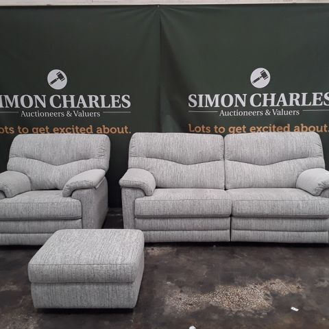 QUALITY G-PLAN STRATFORD COPPICE POWDER FABRIC THREE SEATER POWER RECLINING SOFA, POWER RECLINING ARMCHAIR AND FOOTSTOOL