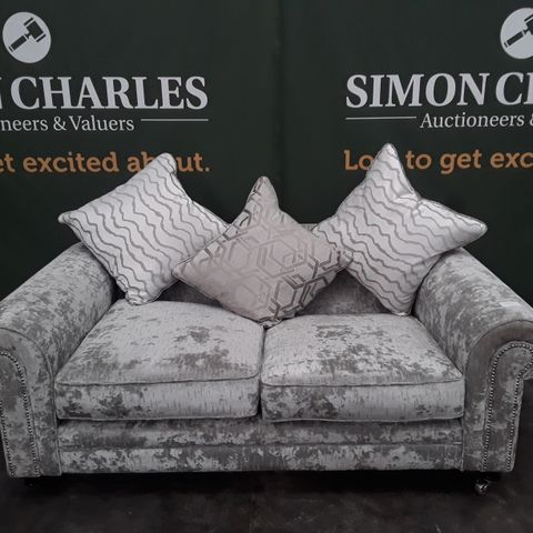 QUALITY SILVER FABRIC TWO SEATER SOFA ON CASTERS
