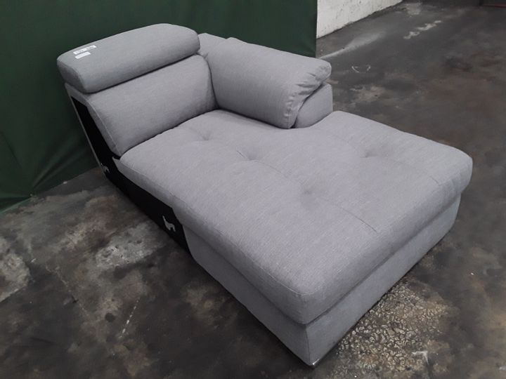 DESIGNER GREY FABRIC SOFA SECTION WITH ADJUSTABLE HEADRESTS