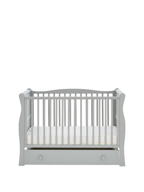 BOXED GRADE 1 SPACE SAVER GREY WOOD SLEIGH COT WITH DRAWERS (1 BOX)