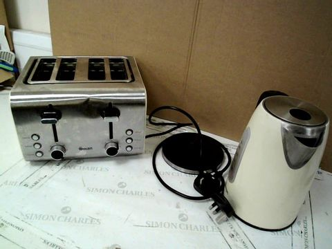 SWAN STAINLESS STEEL KETTLE AND TOASTER - CREAM