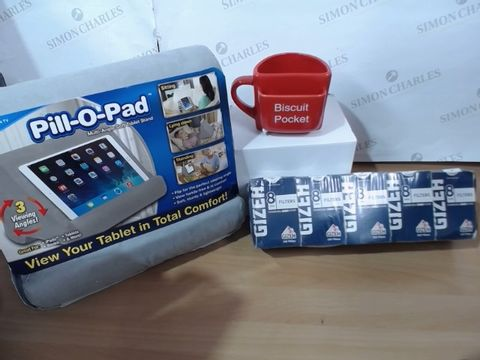 MEDIUM LOT OF ASSORTED HOUSEHOLD ITEMS TO INCLUDE: BISCUIT POCKET MUG, JML PILL-O-PAD, PACK OF 10 GIZEH 8MM FILTERS ETC