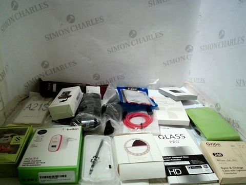 LOT OF APPROXIMATELY 30 ASSORTED PHONE CASES, SCREEN PROTECTORS, CABLES ETC