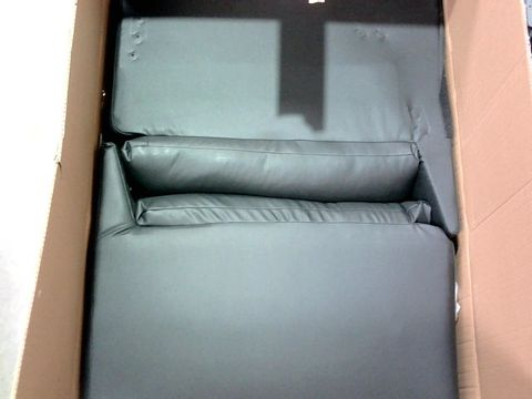 LOT OF 2 ASSORTED BOXED DESIGNER SOFA PARTS TO INCLUDE BLACK FAUX LEATHER SOFA ARMS AND BLACK/BEIGE FABRIC SOFA PART
