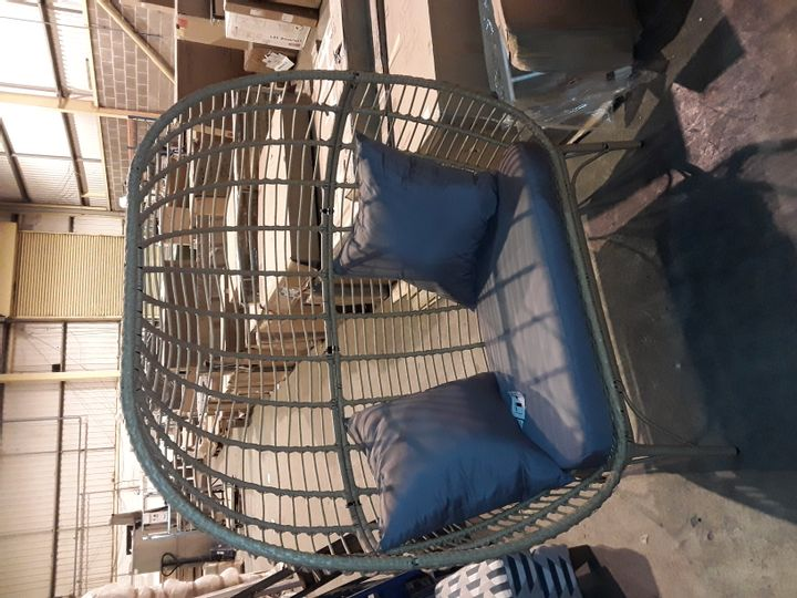 DESIGNER GRADE 1 GARDEN COCOON STYLE CHAIR WITH GREY CUSHIONS