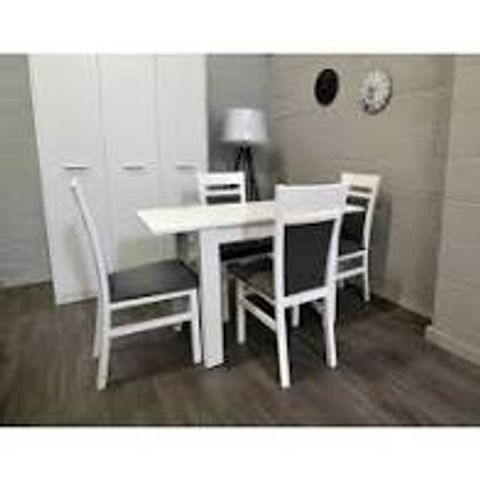 BOXED LEORA WHITE EXTENDABLE DINING TABLE (1 BOX)