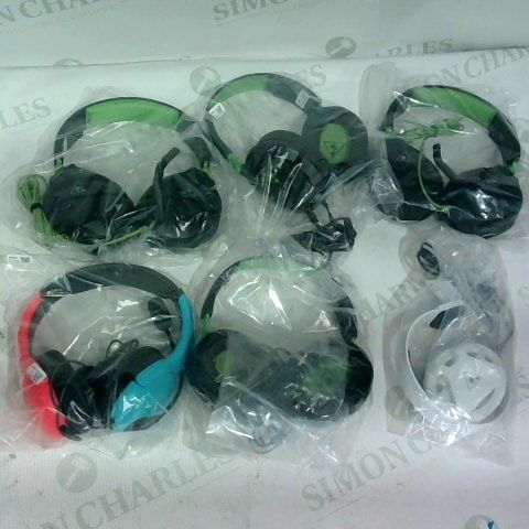 6 ASSORTED PAIRS OF GAMING HEADSETS TO INCLUDE TURTLE BEACH/ NINTENDO