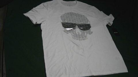 DKNY SILVER SKULL WHITE T-SHIRT MEDIUM