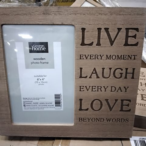 """PALLET OF APPROXIMATELY 125 CASES EACH CONTAINING 6 WOODEN PHOTO FRAMES, 6"""" × 4"""" LIVE, LAUGH, LOVE + APPROXIMATELY 40 UNBOXED FRAMES."""