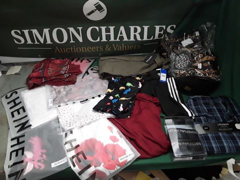 BOX OF ASSORTED ITEMS OF CLOTHING TO INCLUDE: DEBENHAMS PYJAMAS, ADIDAS, PRETTY LITTLE THING TROUSERS ETC