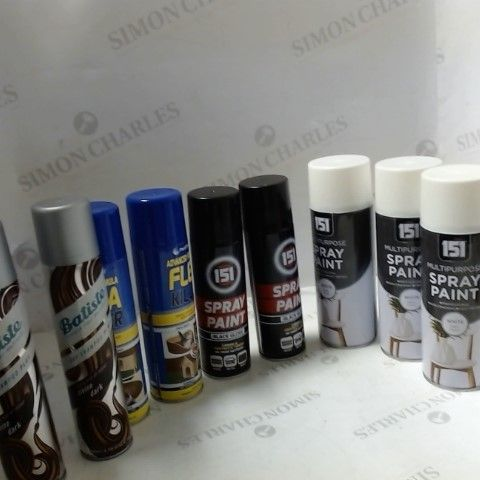 LOT OF ASSORTED ITEMS TO INCLUDE; SPRAY PAINT, FLEA KILLER AND DRY SHAMPOO ETC