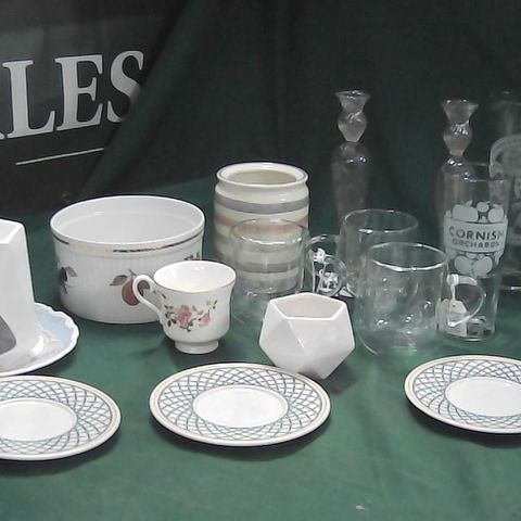 LOT OF ASSORTED GLASSES AND PLATES