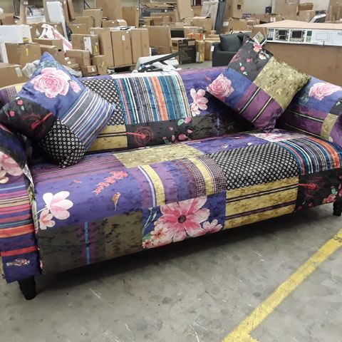 DESIGNER PATCHWORK PATTERNED FABRIC TWO SEATER SOFA