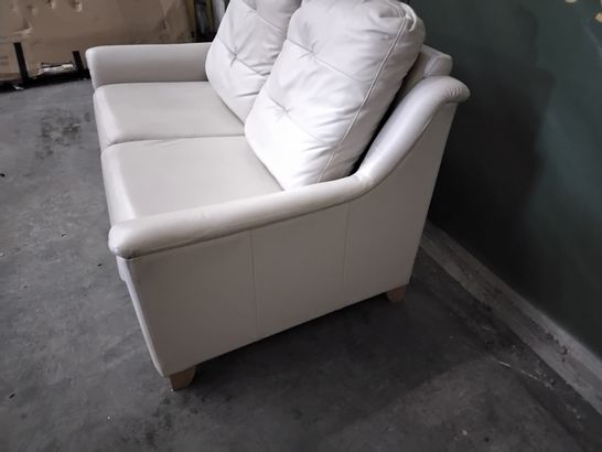 QUALITY G PLAN HEPWORTH OXFORD CHALK LEATHER FIXED TWO SEATER SOFA