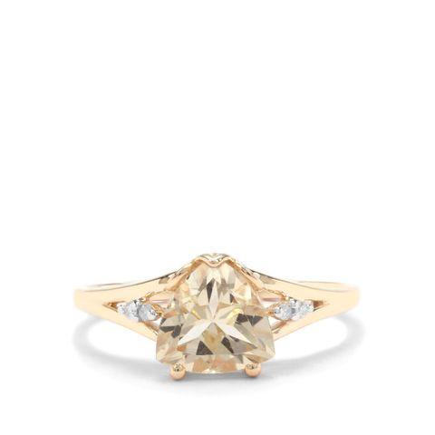 SERENITE & WHITE DIAMOND 9K GOLD RING ATGW 1.55CTS SIZE N TO O
