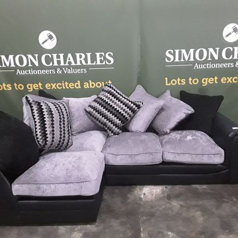 DESIGNER GREY AND BLACK FABRIC CORNER SOFA WITH SCATTER CUSHIONS