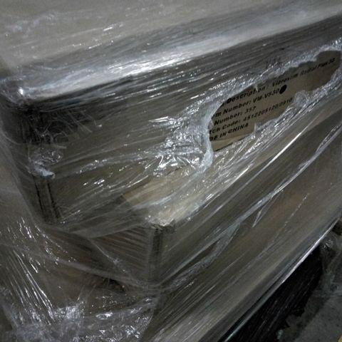 PALLET OF FOUR ASSORTED ITEMS TO INCLUDE A VIBROSLIM RADIAL PLUS 3D AND A KELLY HOPPEN SQUARE OTTOMAN WITH 60L OF STORAGE  APRROXIMATELY 44CM X 70CM - TAUPE