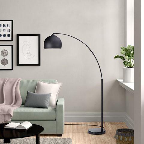 BOXED BONITA 174CM ARCHED FLOOR LAMP SHADE & BASE- BLACK