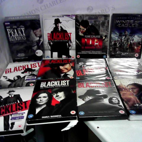 APPROXIMATELY 25 ASSORTED DVD'S AND BLU-RAYS TO INCLUDE PEAKY BLINDERS COMPLETE SERIES 1-4, FARSCAPE SEASON 1,2, PEACEKEEPER WARS AND THE BLACKLIST SEASON 1 TO 7