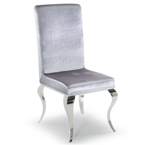 BOXED GRADE 1 PAIR OF LOUIS SILVER DINING CHAIRS (1 BOX)