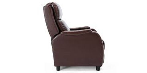 BOXED BROWN LEATHER PUSHBACK RECLINING EASY CHAIR (1 BOX)