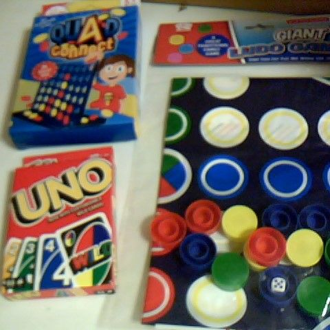 SELECTION OF CHILDRENS GAMES INCLUDING UNO, QUAD CONNECT ANF GIANT LUDO GAME
