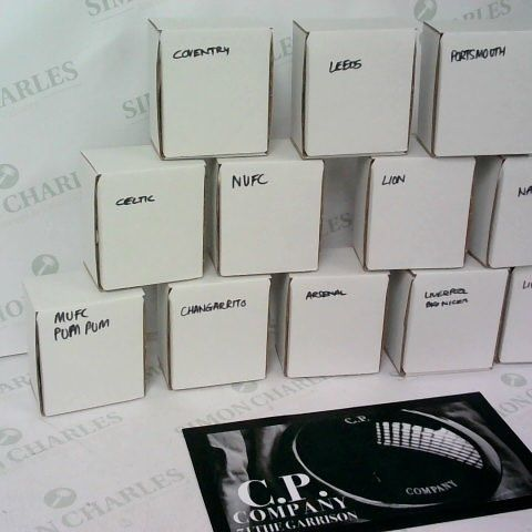 ASSORTMENT OF 12 PERSONALISED FOOTBALL GLASSES FROM C.P COMPANY INDIVIDUALLY BOXED AND BUBBLEWRAPPED