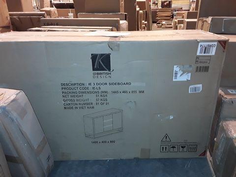 BOXED GRADE 1 K-INTERIORS IE 3-DOOR SIDEBOARD (1 BOX)