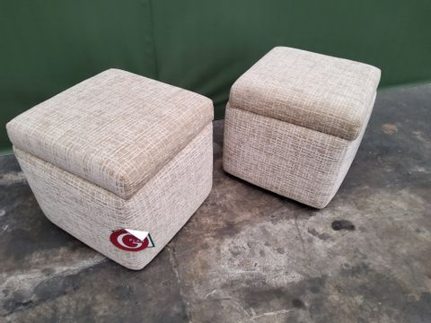 PAIR OF QUALITY G PLAN SPENCER WAFFLE CARAMEL FABRIC SQUARE STORAGE FOOTSTOOLS