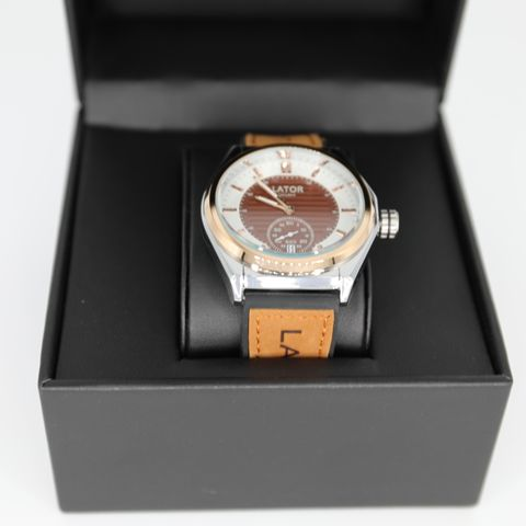 BRAND NEW BOXED MEN'S LATOR CALIBRE L007 SUB DIAL WATCH – LEATHER/RUBBER HYBRID STRAP – COFFEE DIAL - 40MM CASE – L007 MOVEMENT