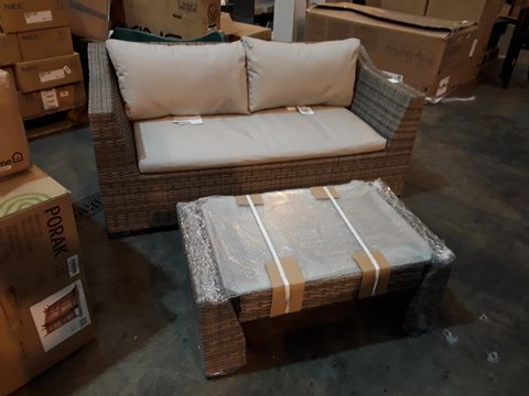 DESIGNER RATTAN STYLE GARDEN SOFA WITH GLASS-TOPPED COFFEE TABLE