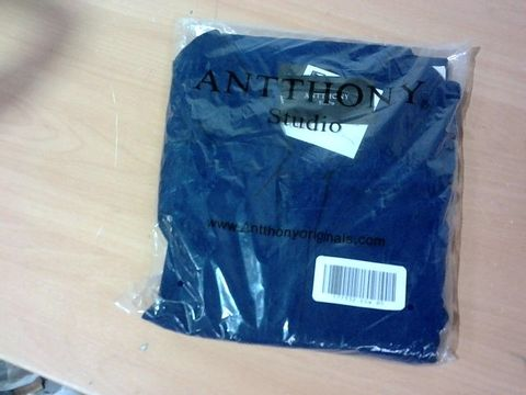 ANTTHONY DESIGNS LONG SLEEVE TUNIC WITH COLLAR- NAVY- SIZE M