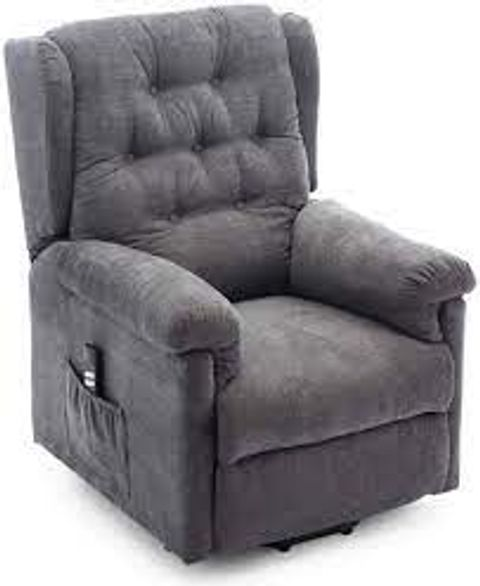 BOXED BARNSLEY GREY FABRIC DUAL RISE FABRIC RECLINER CHAIR (2 BOXES)