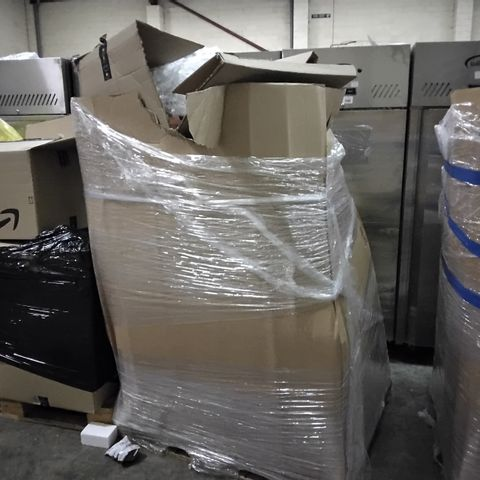 PALLET OF ASSORTED ITEMS INCLUDING BOXED FLAT PACKED FURNITURE, FLOWER DECORATIONS, ART ITEMS AND GLASS TINT FILMS