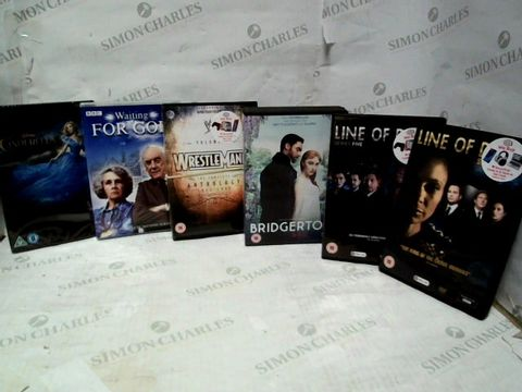 LOT OF APPROXIMATELY 26 ASSORTED DVDS, TO INCLUDE BRIDGERTON, CINDERELLA, LINE OF DUTY, ETC