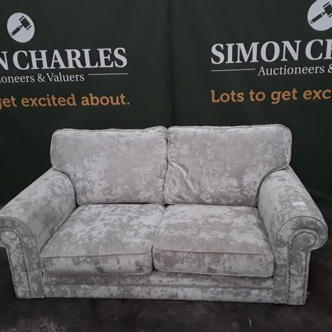 QUALITY AVALON SILVER FABRIC TWO SEATER SOFA WITH STUDDED ARMS