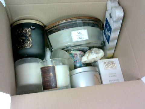 SMALL BOX OF ASSORTED CANDLES