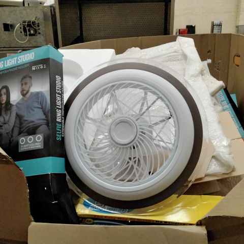 PALLET OF ASSORTED ITEMS INCLUDING SHIELD GUARD, CLEANING ELECTRICAL BRUSH, SELFIE RING LIGHT, FOAM ROLLERS AND LED CEILING FAN