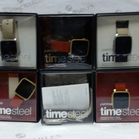 LOT OF APPROXIMATELY 12 PEBBLE TIME STEEL SMARTWATCHES