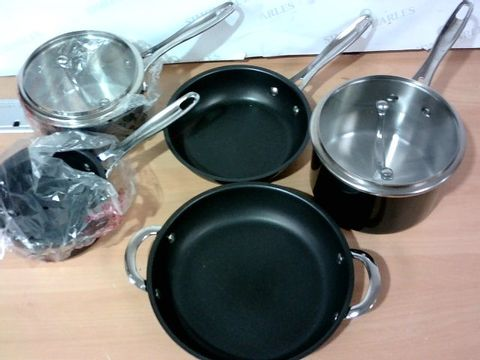 COOK'S ESSENTIALS STAINLESS STEEL COOKWARE SET - BLACK