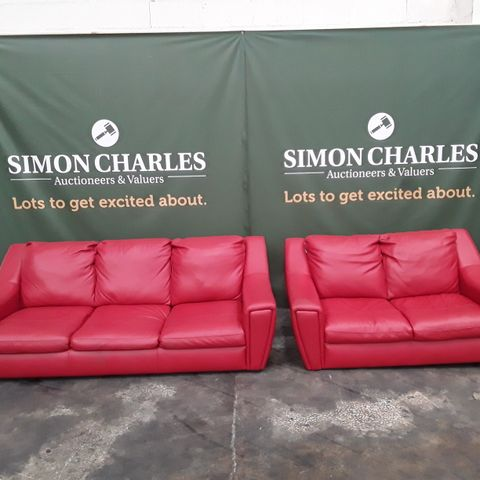 QUALITY RED LEATHER THREE AND TWO SEATER SOFAS