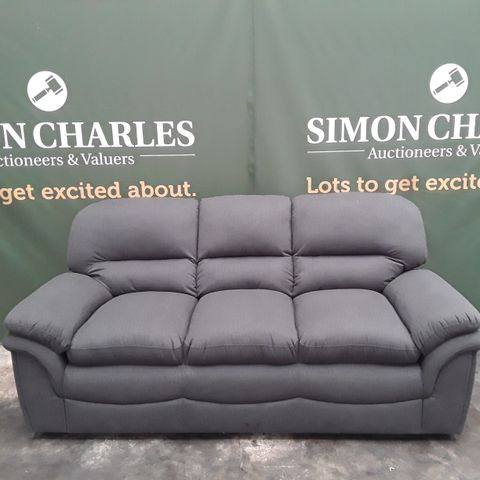 DESIGNER ROCHESTER CHARCOAL GREY FABRIC 3 SEATER SOFA
